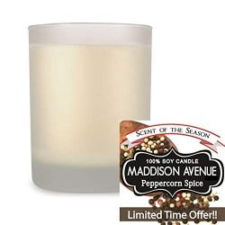 Maddison Avenue Peppercorn Spice Scented Candle 14 oz, Frosted Glass Spa Tumbler, 100% Natural S ...