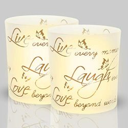 lEPECQ Tealight Candle Holders, Votive Candle Holders, Frosted Glass Tealight Holders with Words ...