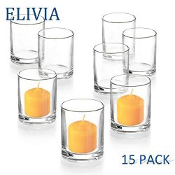 Elivia Clear Votive Candle Holder – Set of 15, Tealight Candle Holder Glass Cup for Weddin ...