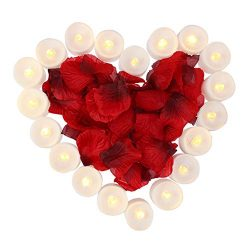 obmwang Pack of 24pcs Realistic Flameless LED Tea Light Candles and 1000pcs Dark Silk Rose Petal ...
