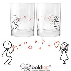 BOLDLOFT From My Heart to Yours His & Hers Drinking Glasses-Valentines Day Gifts for Her,Gir ...