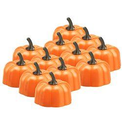 Anpress 12 Pcs Orange Pumpkin Tealights 3D Pumpkin Flameless Candle Light Battery Operated LED T ...