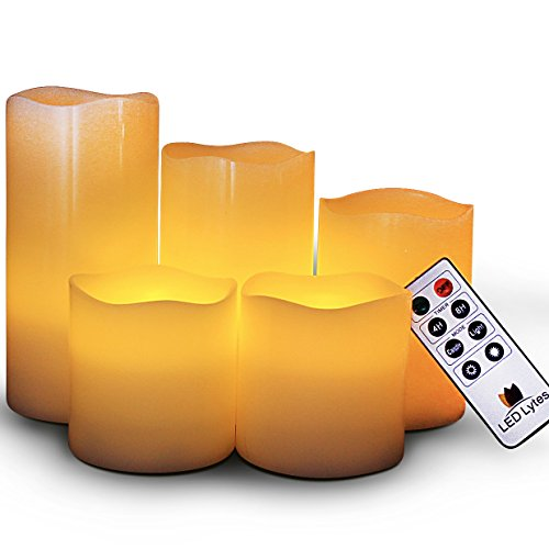 LED Lytes Battery Operated Candles – Large Flameless Candles Set of 5 Round Ivory Wax with ...