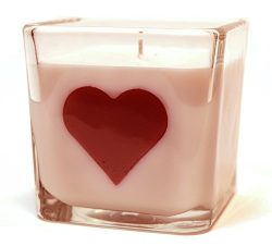 Pink Grapefruit Mango, 10oz Soy Heart Candle in a Beautiful Square Jar, Perfect Gift for Valenti ...