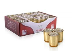 KISCO CANDLES: 12 Hour Votive Candles with Holders 12-Pack Gold Decorative Glass Home Decor, Bea ...