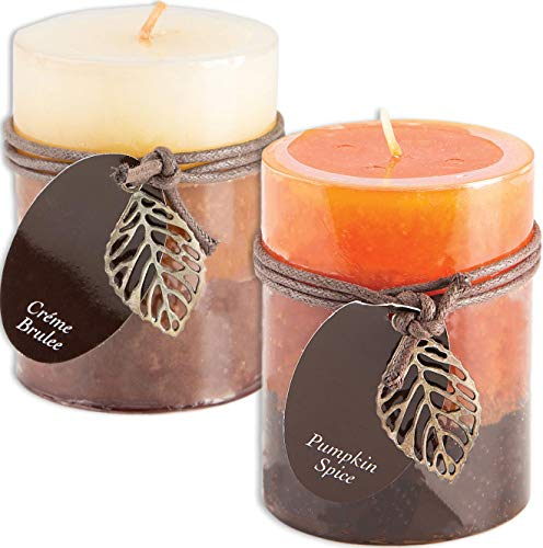 Creme Brulee and Pumpkin Spice Scented Candles Set Bundle of 2 Decorative Layered Pillar Candles ...