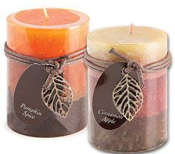 Cinnamon Apple and Pumpkin Spice Scented Candles Set Bundle of 2 Decorative Layered Pillar Candl ...