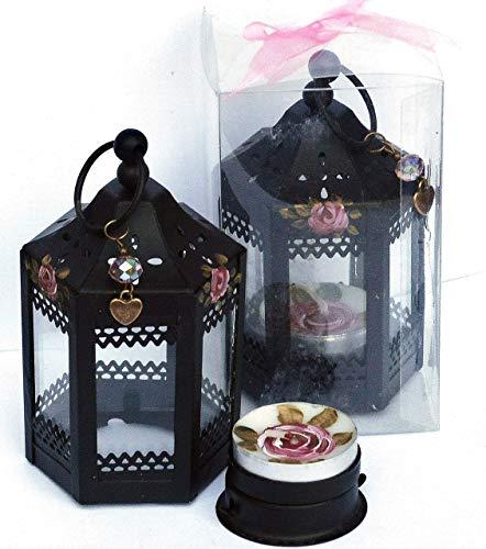 Painted Rose Mini Black Metal Table Lantern Tea Light Candle Holder Boho Bohemian Decor Decorati ...
