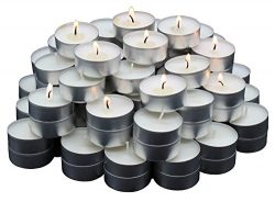 MontoPack White Tealight Candles Bulk 125 Pack | Paraffin Pressed Wax, Smokeless, Unscented, Dri ...