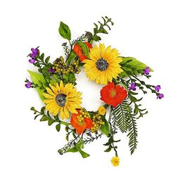 ESE MIXED WILDFLOWER & SUNFLOWER CANDLE RING, SPRING & SUMMER