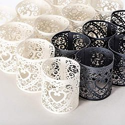 Sumind 24 Pieces Tea Light Votive Wraps Laser Cut Decorative Wraps Paper Candle Holder for LED B ...