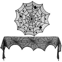 Konsait Halloween Decoration Black Lace Spiderweb Fireplace Mantle Scarf Cover Round Lace Table  ...