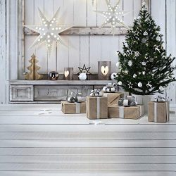 KSZUT 10x10ft Christmas Tree Gift Photography Backdrop Wooden Candle Winter Background Christmas ...