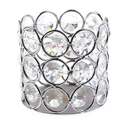 Vktech Silver Crystal Candle Holder Tea Light Candle Shade Crafts Table Decorative Centerpiece W ...
