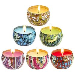 LivingABC Scented Candles Set Lemongrass, Rose, Peppermint, Lavender, Peach Grapefruit Smokeless ...