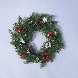 A Touch of Snow Frosted Evergreens Red Berries Artificial Winter Christmas Candle Ring A Touch o ...