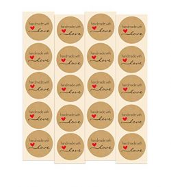 Handmade with Love Stickers | 100 Pack | 1″ Inch Round Natural Kraft – Perfect for B ...