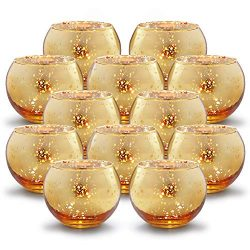 Volens Round Gold Votive Candle Holders, Mercury Glass Tealight Candle Holder Set of 12