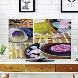 iPrint LCD TV dust Cover,Spa,Spa Organic Cosmetics Theme Wooden Bowl Petals Lavender Candle Pebb ...