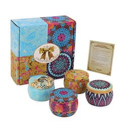 Nextbox Scented Candles Gift Set, Natural Oils Soy Wax Aromatherapy Scented Candle 4 FRAGRANCES  ...