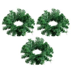 Juvale Christmas Candle Ring – 3-Pack Artificial Pine Mini Wreath, Plain Greenery Design,  ...