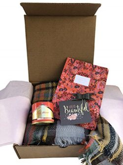 Blush Gift Box w/Scarf, Candle, Notebook & Planner Accessory for Friend, Mom, Daughter, Aunt ...