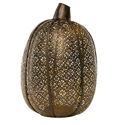 tag Pumpkin Pillar Candle Holder Halloween Decorations Thanksgiving Fall Décor Metal Antique Bronze