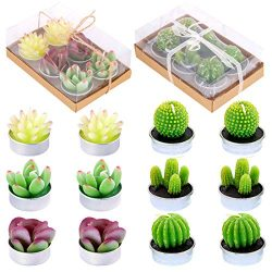 Glarks 12 Pieces Cute Tea Lights Tealight Candles, Artificial Succulents Handmade Cactus Candles ...