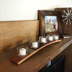 Wine Barrel Candle Holder, INCLUDES SQUARE GLASS & VOTIVE CANDLES – Handmade with Napa ...