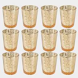 Abarli Classy Votive Candle Holders Set of 12 – Made Of Mercury Glass With A Speckled Gold ...