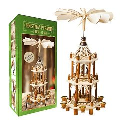 German Christmas Decoration Pyramid – 21 Inches – Wood Nativity Scene Set – Un ...