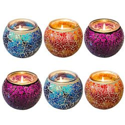 WALTSOM Scented Candles Gift Set, Handmade Mosaic Design 3 x 5.0Oz Natural Soy Wax Candles, Vani ...