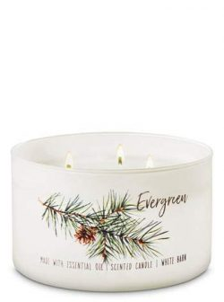 White Barn Bath & Body Works 3 Wick Candle Evergreen Low Profile