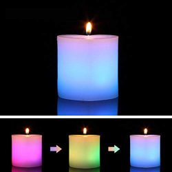 3PCS Color Changing LED Candles, Light Sensitive Flame Activated Real Wax Flame Candle LED Magic ...