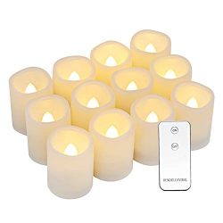 Dromance Flameless Flickering LED Votive Candles with Remote, Battery Operated TeaLights Battery ...