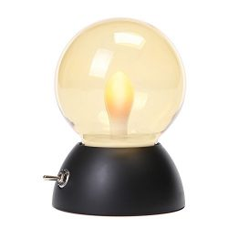 USB Rechargeable Bulb Bedside Lamp 52-110hs life, 2 Modes LED Candle Lamp Flame Night Light (Bl ...