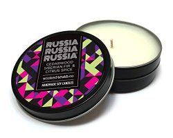 Wicked Truth Candle Co   Scent of a Nation Collection   Russia Russia Russia (Cedarwood, Fir, Ci ...