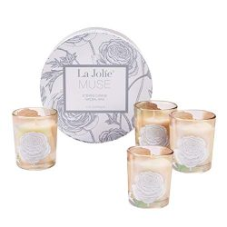 LA JOLIE MUSE Scented Candle Gift Set 4, Four Season Natural Soy Wax Votive Candle Christmas Col ...