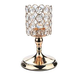 Anferstore Gold Crystal Candlestick, Modern Crystal Cup Holders for Valentines Day Dining Table  ...