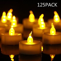 Tea Light Flameless LED Tea Lights Candles (125 Pack,$0.239/Count), Flickering Warm Yellow 100+ ...