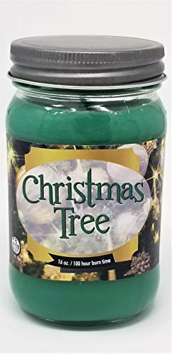 S&M Candle Factory Christmas Tree Scented Candle ~16oz Glass Mason Jar Xmas Candle ~ 100 Hou ...