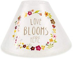 Pavilion Gift Company Love Blooms Here-Hand Painted Floral Frosted and Crackled Glass Jar Large  ...
