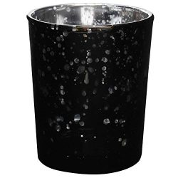 Just Artifacts Mercury Glass Votive Candle Holder 2.75″ H (1pc, Speckled Black) -Mercury G ...