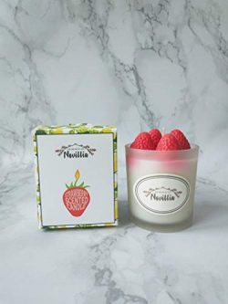Novillia Soy Wax Candles Premium Luxury Vanilla and Strawberry Scented 100% Organic Aromatherapy ...