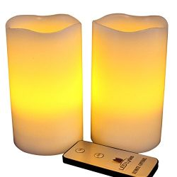 LED Lytes Flameless Candles Flickering – 2 Ivory Wax Amber Yellow Flame Pillars Battery Op ...