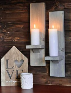 Rustic Wall Sconces or Candle Holders in Distressed Grey