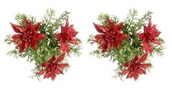 HOLIDAYS~ Glitter Poinsettia Christmas Candle Ring for Taper Candles (2 Pack)