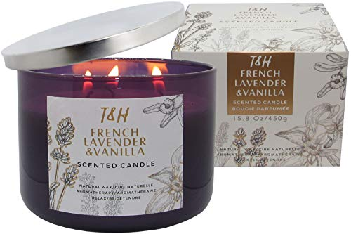 T & H French Lavender & Vanilla Candle Aromatherapy Relaxation Handmade Pure Soy Wax 3-W ...