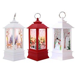 Christmas Decoration Light,Vanvler Xmas Candle with LED Tea Light Lampion Flame Lamp (3 Pcs Snow ...