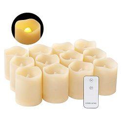 12 pack Flameless Flickering Votive Tea Lights Candles Bulk Battery Operated Fake Candles(Batter ...